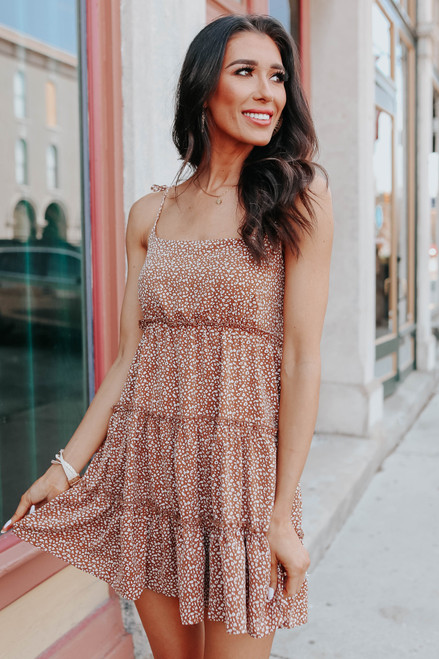 Tie Strap Camel Printed Tiered Dress