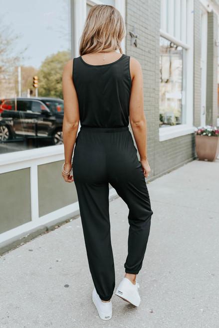 Drawstring Black Ribbed Henley Jumpsuit