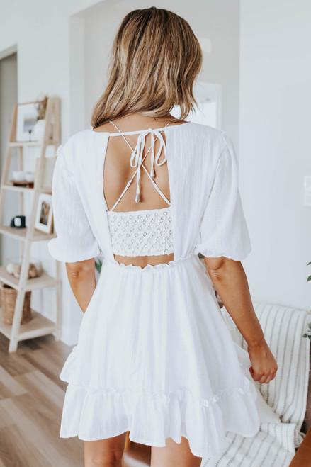 V-Neck Open Back Textured White Dress
