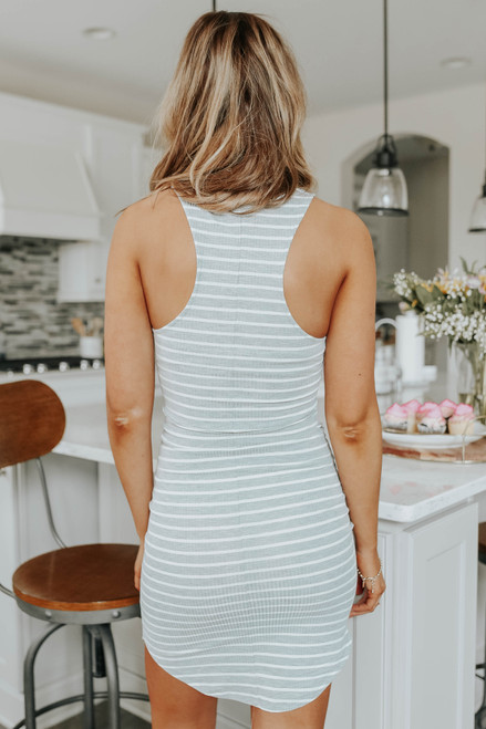 Racerback Striped Curved Hem Dress