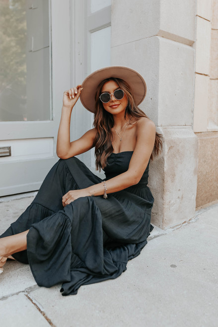 Strapless Smocked Black Tiered Maxi