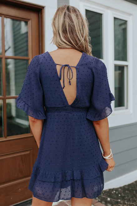 Heaven Sent Crochet Lace Navy Dotted Dress