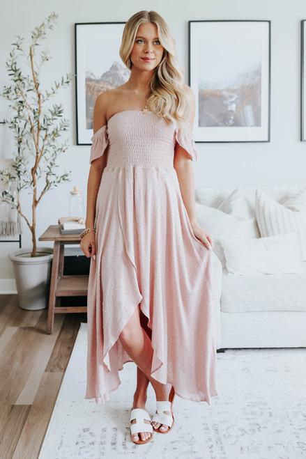 Off the Shoulder Blush Mocha Dotted High Low Dress
