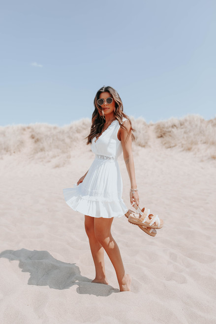 V-Neck Crochet Lace White Dress