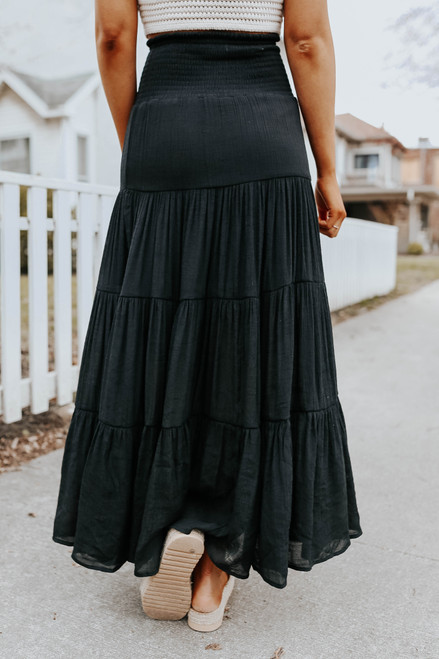 Drawstring Smocked Black Tiered Maxi Skirt