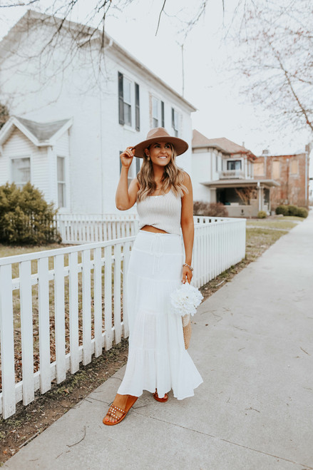 Drawstring Smocked White Tiered Maxi Skirt