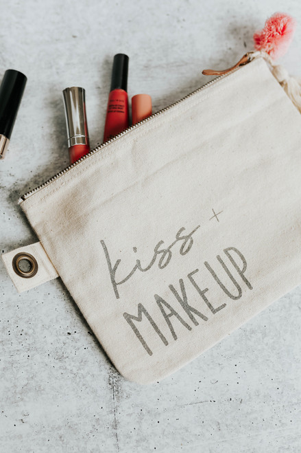 Kiss + Makeup Canvas Bag