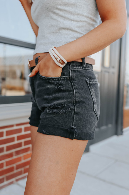 Suncoast Frayed Black Denim Shorts