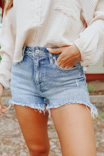 Surfs Up Faded Medium Wash Denim Shorts