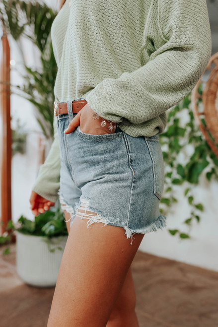 Catch Up Distressed Medium Wash Denim Shorts