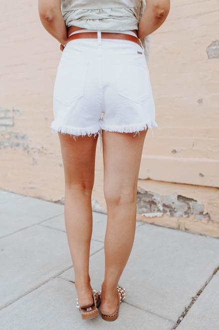 Catch Up Distressed White Denim Shorts