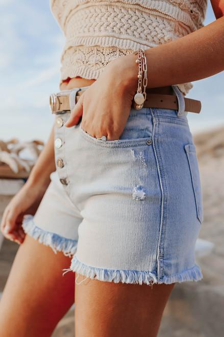 5-Button Light Wash Denim Shorts