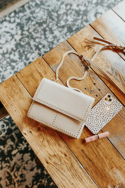 French Connection Studded Taupe Crossbody
