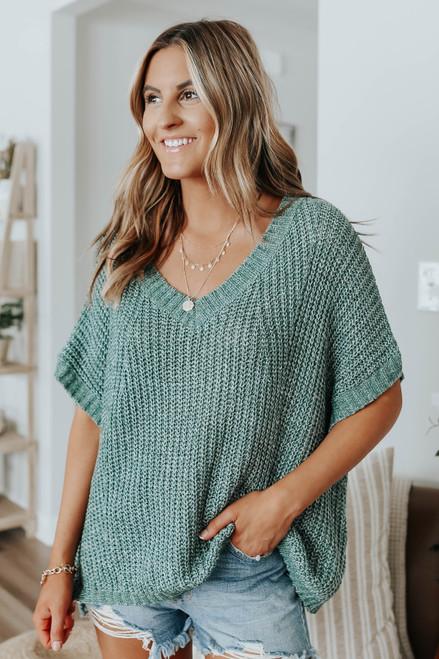 Short Sleeve V-Neck Green Sweater