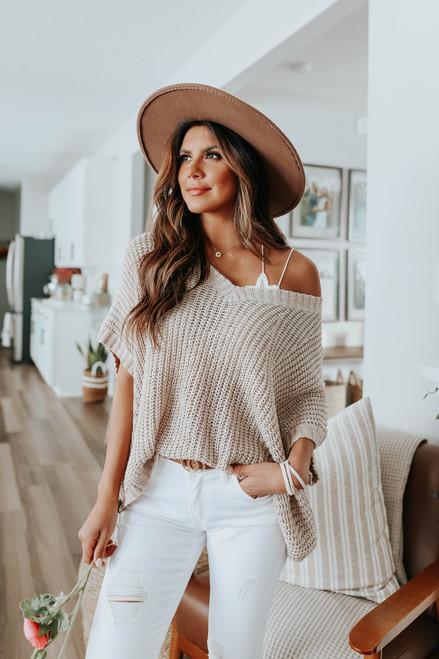 Short Sleeve V-Neck Taupe Sweater