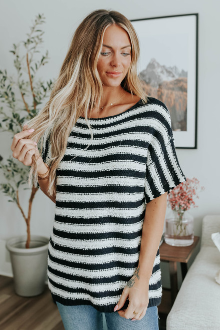 Short Sleeve Black Striped Sweater