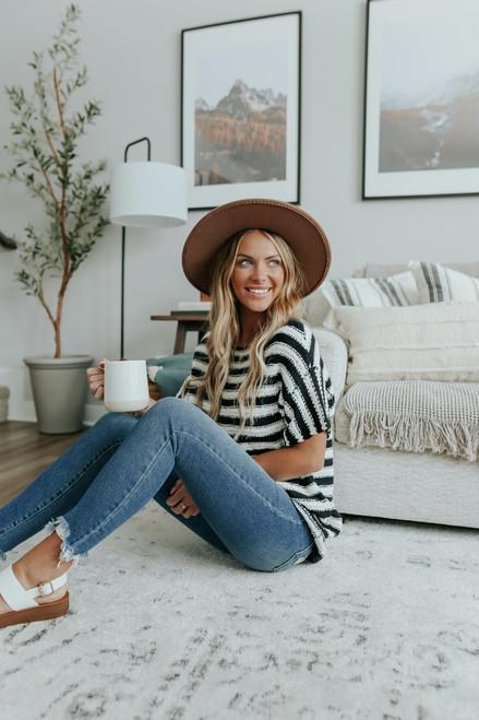 Short Sleeve Black Striped Sweater