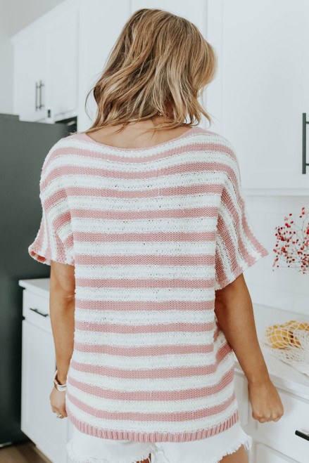 Short Sleeve Mauve Striped Sweater