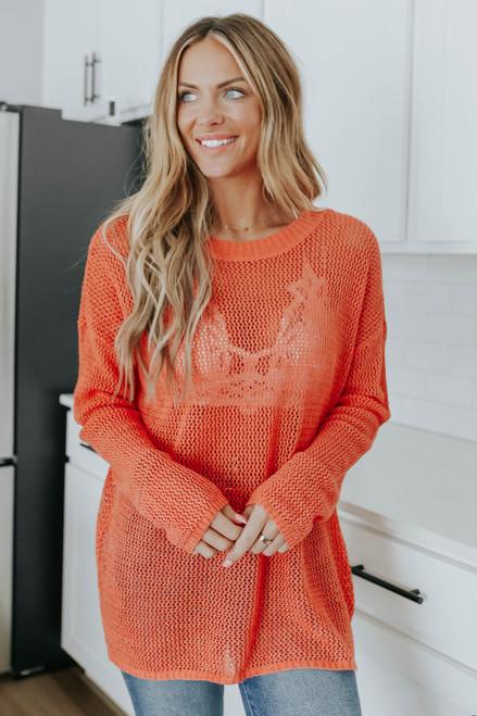 Hawaiian Sunset Mesh Sweater