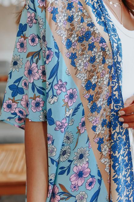 Seaside Malibu Floral Colorblock Kimono