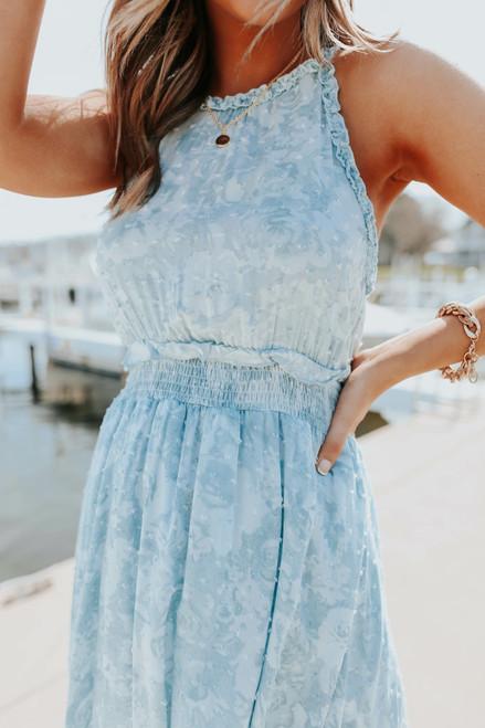 Halter Blue Tie Dye Ruffle Dotted Dress