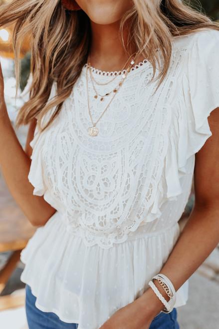 Ruffle Sleeve Crochet Lace Blouse