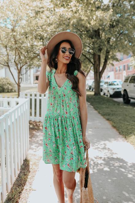 V-Neck Open Back Green Floral Dress