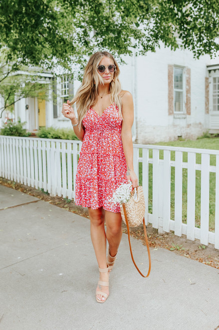 Island Crush Surplice Red Floral Dress