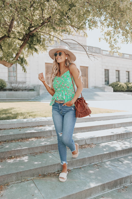 Ruched Green Floral Dotted Peplum Tank