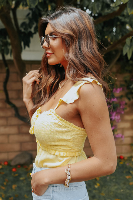 Sweetheart Smocked Yellow Bodysuit