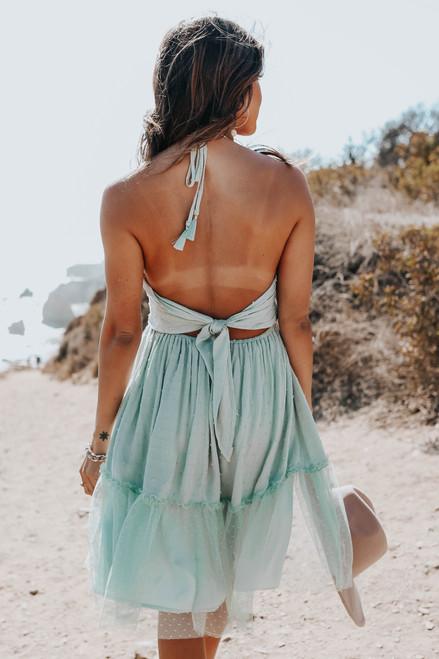 Halter Tie Back Sage Dotted Dress