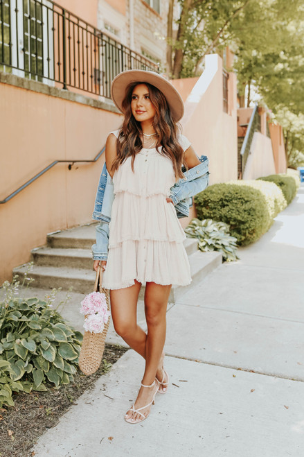 Button Down Cream Dotted Tiered Dress