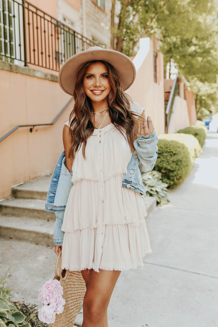 Button Down Cream Tiered Dotted Dress - FINAL SALE