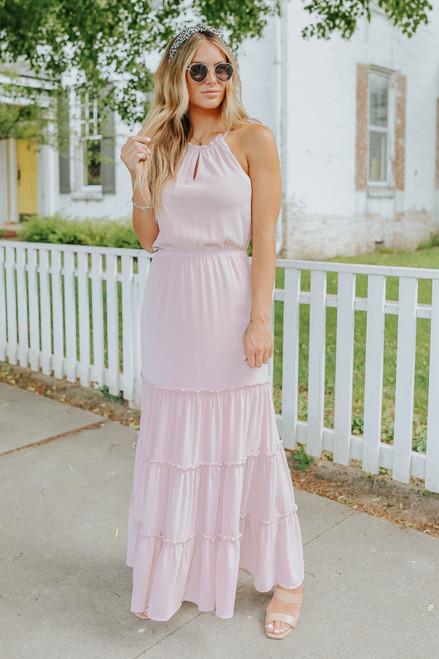 Gwennie Halter Pink Tiered Crinkle Maxi