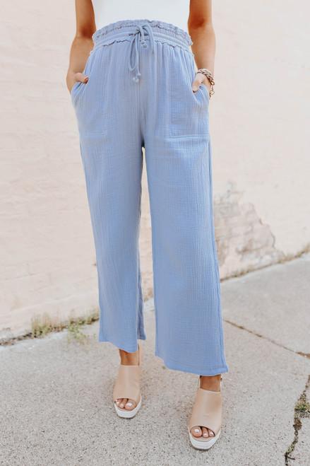 Drawstring Dusty Blue Crinkle Pants