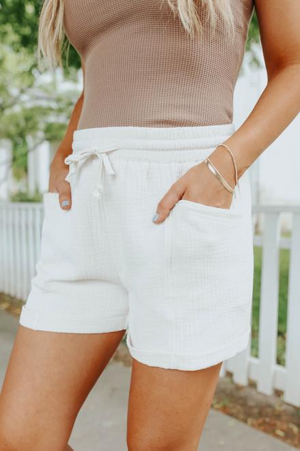 True Believer Drawstring Waist Cream Shorts