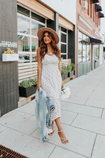 V-Neck Grey Floral High Low Midi Dress