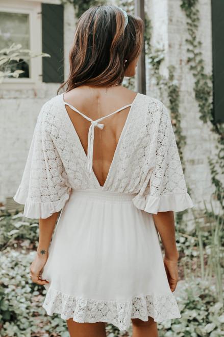 Short Sleeve Surplice Crochet Lace Natural Dress