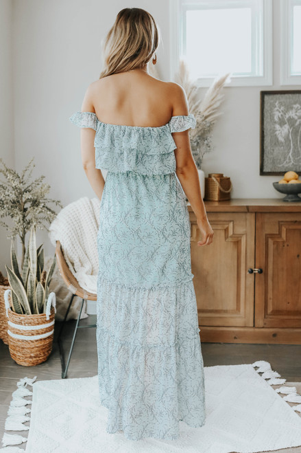 Off the Shoulder Blue Printed Ruffle Maxi