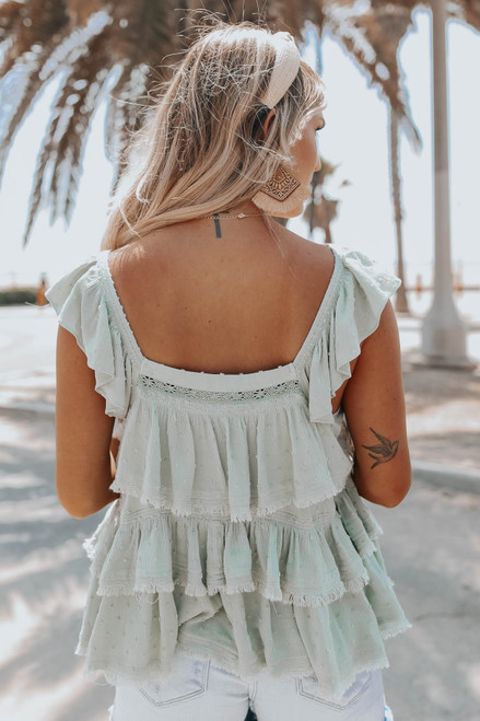 Button Down Sage Tiered Dotted Top