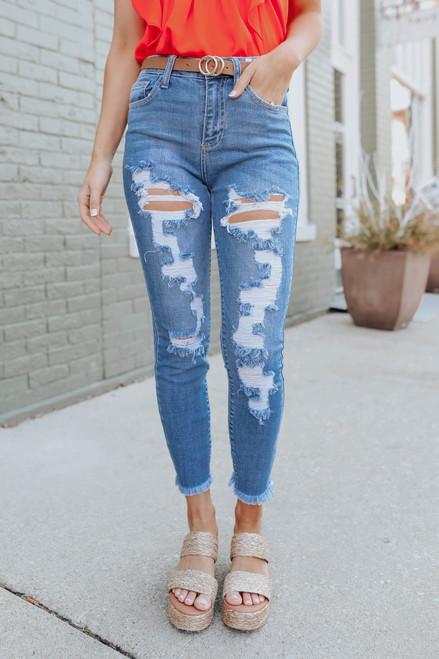 Kick Back Distressed Medium Wash Skinny Jeans