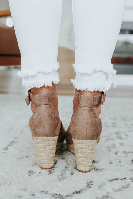Oceanside Faux Suede Taupe Espadrille Wedges
