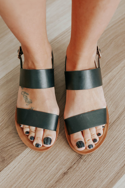 Sandy Cove Faux Leather Black Sandals