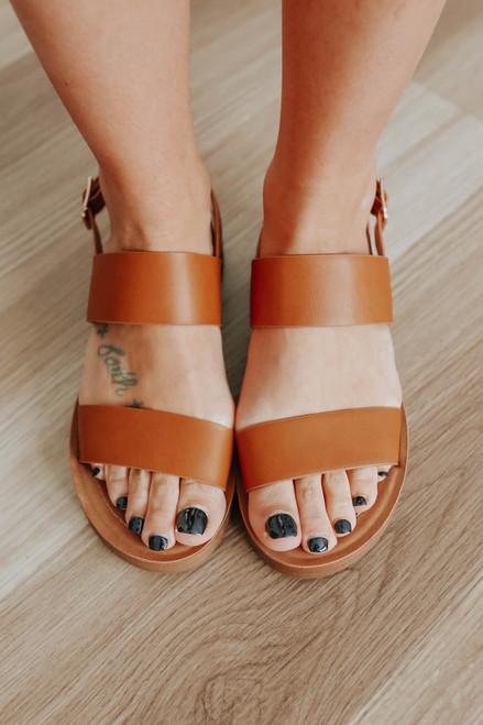 Sandy Cove Faux Leather Tan Sandals
