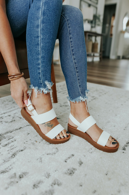 Sandy Cove Faux Leather White Sandals