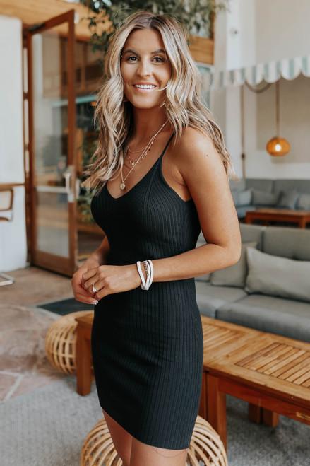 Marseille V-Neck Black Ribbed Dress