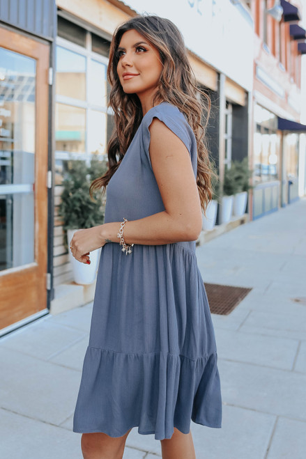 V-Neck Cuffed Sleeve Tiered Dress