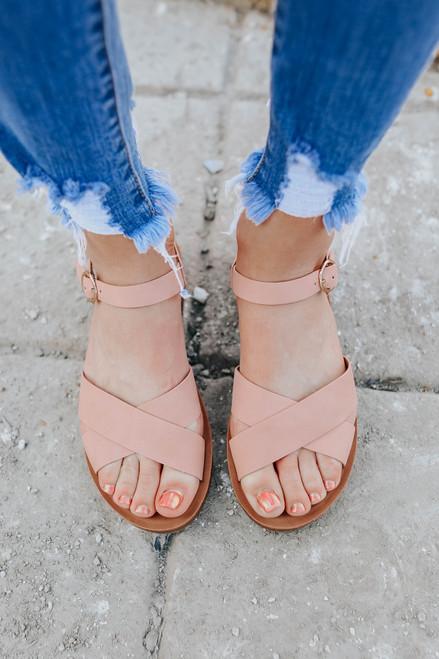 Kiss & Tell Cross Front Blush Sandals