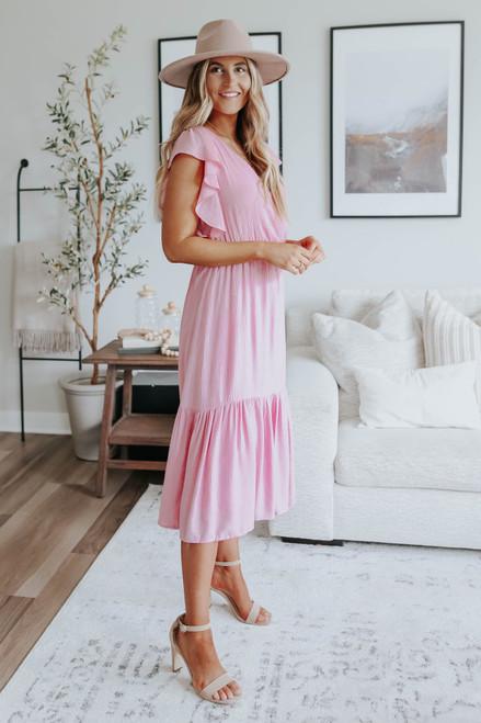 Ruffle Sleeve Surplice Blush Midi Dress