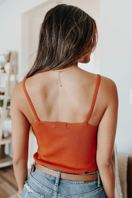 V-Neck Amber Ribbed Bodysuit